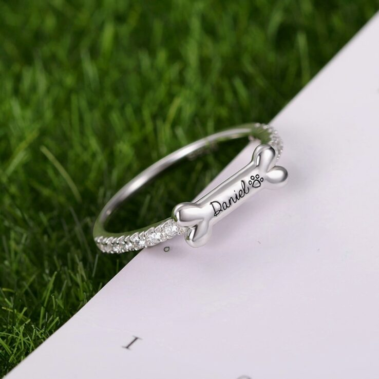 personalized dog bone shaped name ring
